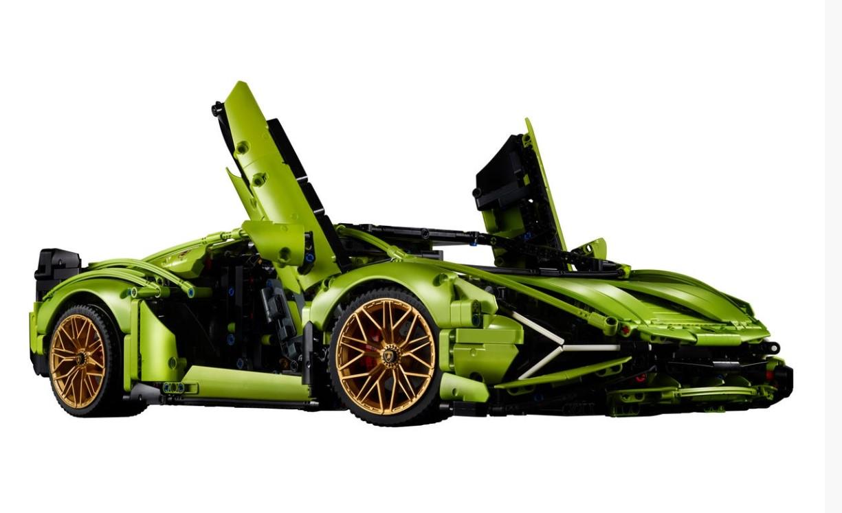 En grön Lamborghini i Lego
