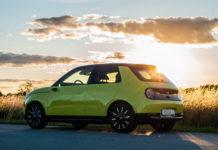 Omslagsbild i motljus för test av Honda E